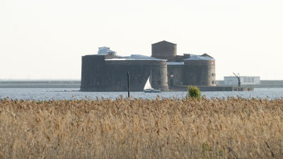 En byggnad med torn mitt i vattnet. En vassrugg i förgrunden.