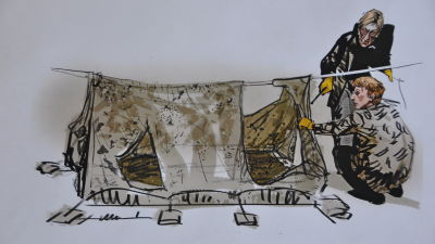 Illustratören Hannu Lukkarinens teckning av tältet där de tre ynglingarna mördades samt en läkare och teknisk utredare.