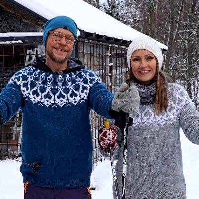 Jim ja Lee hiihtävät Strömsön puutarhassa