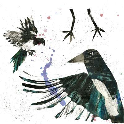 En illustration som föreställer skator av Erika Kallasmaa.