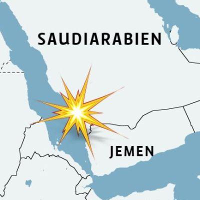 Karta över Saudiarabien och Jemen men platsen där en oljetanker gick på en mina utmärkt.