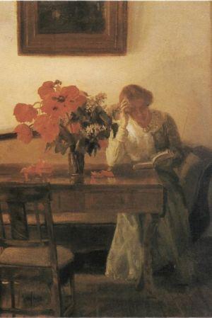 Anna Ancher, Vallmor på ett bord, 1905, målning, Skagens Museum.