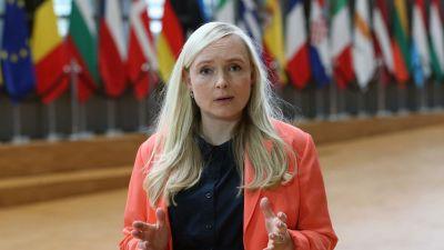 Inrikesminister Maria Ohisalo (Gröna) mötte pressen den 31 augusti 2021 innan EU:s inrikesministrars extrainsatta möte om läget i Afghanistan.