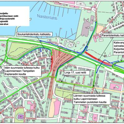Kartta Tampereen keskustan muuttuneista liikennejärjestelyistä