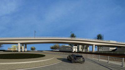 en imaginär så kallad observationsbild av hur den nya viadukten i Hangö ska se ut, en lång vit bro.