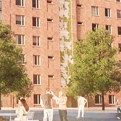 Anna Ruthin luonnos teokseksi asuintalon seinään Kankaalla.