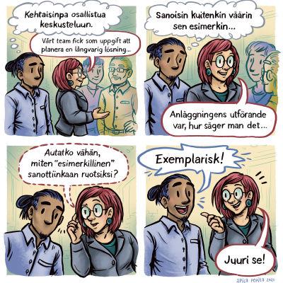 Apila Pepita miettisen sarjakuva osaamisesta. Mies uskaltautuu osallistumaan ruotsinkieliseen keskusteluun.