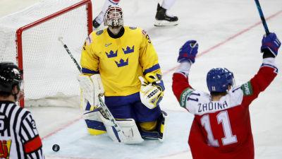 Sverige förlorade mot Tjeckien med 2–4.