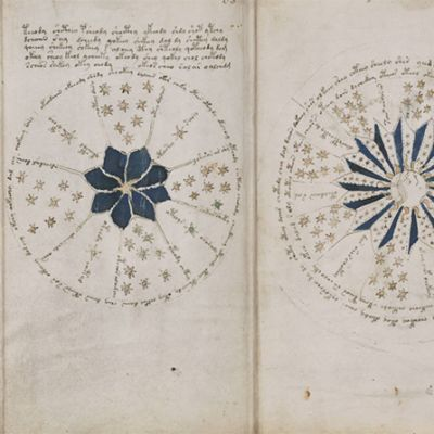 Dokumentaatiokuva kolmesta Voynichin käsikirjoituksen sivusta.