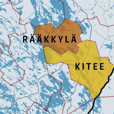 Rääkkylän ja Kitee kartalla