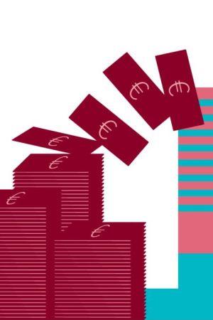 En grafikbild som föreställer hur pengarna försvinner till skatteparadis.