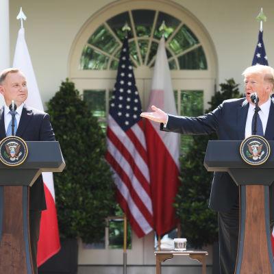 Donald Trump ja Andrzej Duda puhuivat Valkoisen talon ruusupuutarhassa.