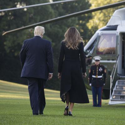 Donald Trump med fru på väg till helikopter, ryggen vänd mot kameran.