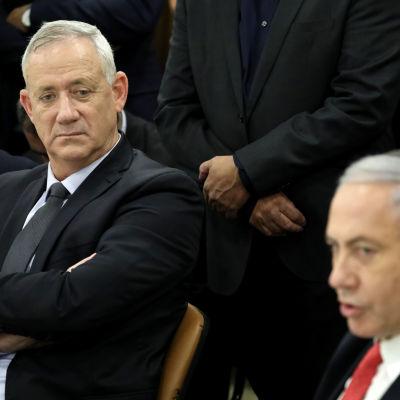 Israels försvarsminister Benny Gantz och premiärminister Benjamin Netanyahu.