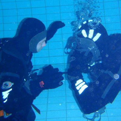 Pelastussukeltajat harjoittelevat uima-altaassa.