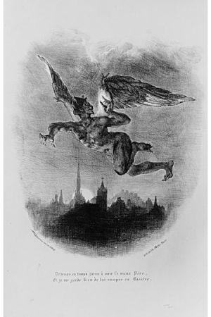 Mefistofeles. Eugène Delacroix, (1798–1863), 1828