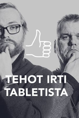 Kuvassa Kari Haakana, Olli Sulopuisto, Panu Räty, teksti Tehot irti tabletista