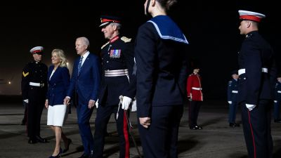 Presidentparet Biden anländer till Storbritannien. Cornwall 9.6.2021