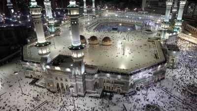 Moskén al-Masjid al-Haram i Mecka omger Kaba, muslimernas heligaste plats.