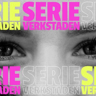 Serieverkstadens logo på foto av ögon.