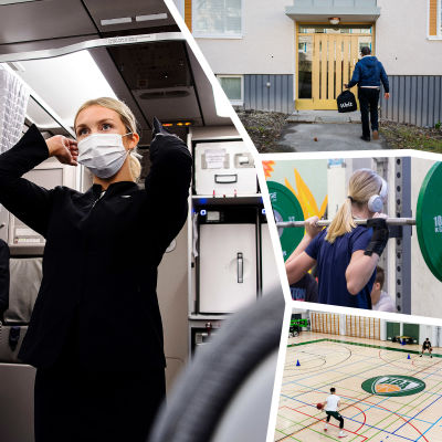 Fotokollage - person som åker metro, åskådare på konsert, person med munskydd i flygplan, hämtmat anländer, träning på gym och personer som spelar basket.