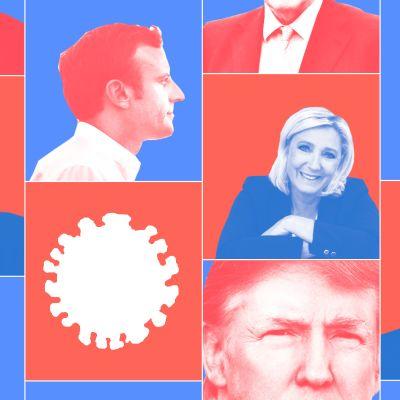 Grafiska bilder av statsledares huvuden