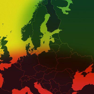 Europakarta med färgerna grönt, gult och rött.