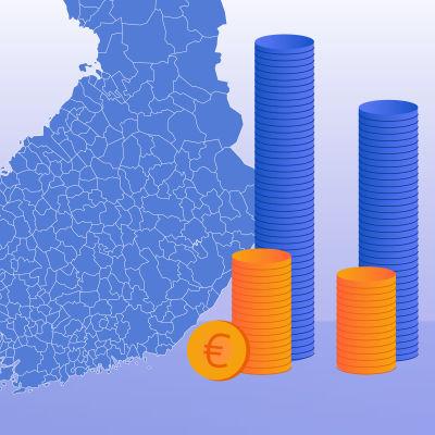 Bilden symboliserar kommunernas ekonomi i Finland