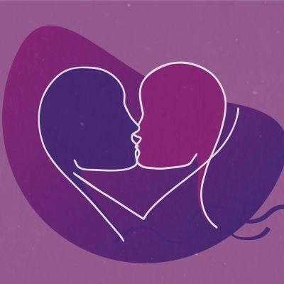 Graafinen kuva suutelevasta parista.
