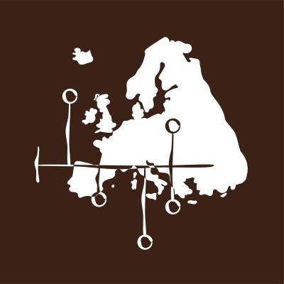 Piirroskuva Euroopan kartasta, jonka päällä aikajana.