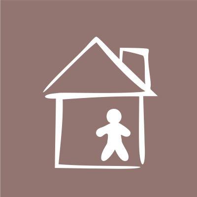 Piiroskuva, jossa talo ja sen sisällä ihmishahmo.