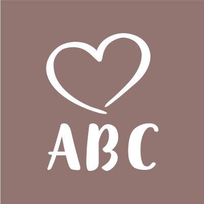 """Piirroskuva, jossa sydän ja teksti """"ABC""""."""