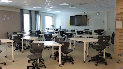 Klassrum i Strömborgska skolan i Borgå.