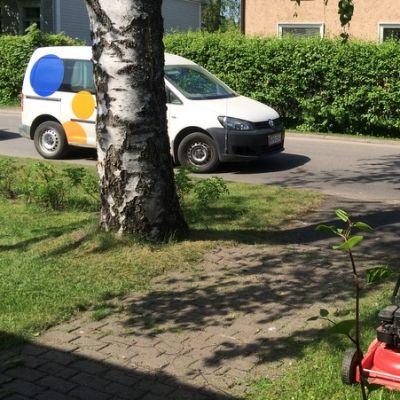 Mies leikkaa nurmea.