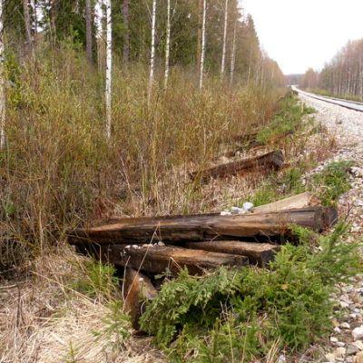 Vanhoja puisia ratapölkkyjä junaradan varressa.