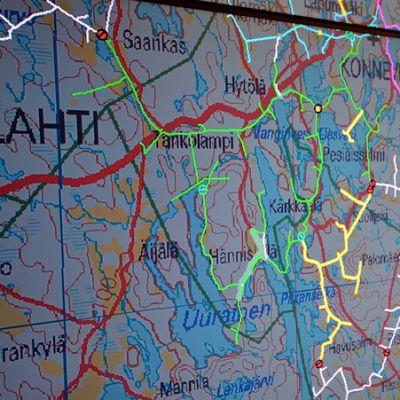 Karttakuva sähköverkon katkoksista Savon Voiman käyttökeskuksessa