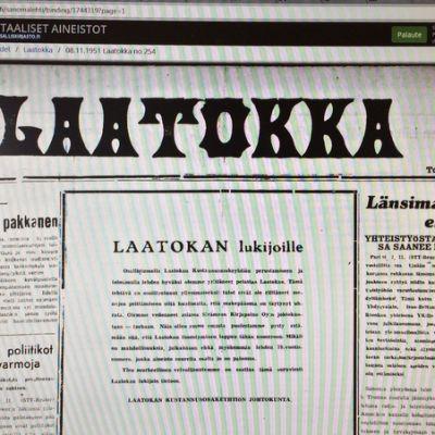 Laatokka-lehden sivu tietokonenäytöllä.