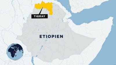 Karta av Etiopien med regionen Tigray utmärkt.