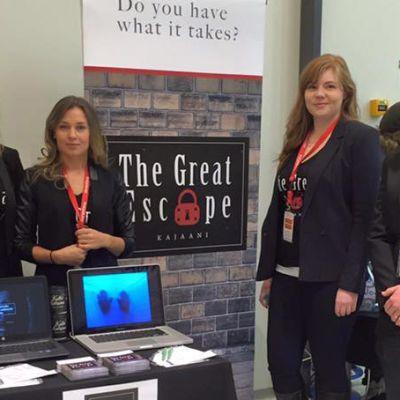 Kajaanilaiset The Great Escape -yrittäjät Olli Kähkönen, Sarianna Juntunen, Tia Lahtinen ja Olga Kemppainen.