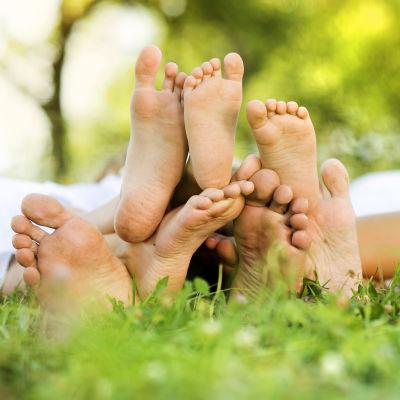 Fyra barfotade personer ligger i gräset.
