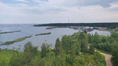 Utsikt från utkikstorn. Man ser hav, skog och röda stugor.