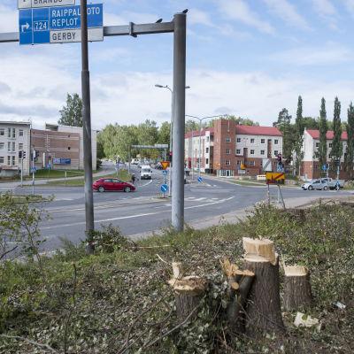 Trädavverkning invid vägkorsning i Vasa.