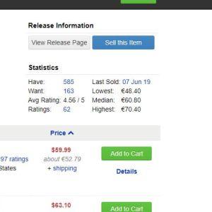 prislista för en vinylskiva på webbsajten Discogs