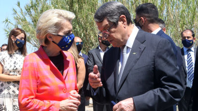 Cyperns president Nicos Anastasiades med EU-kommissionens ordförande Ursula von der Leyen.