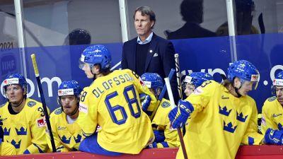 Tre Kronors förbundskapten Johan Garpenlöv coachar sitt lag i en match.
