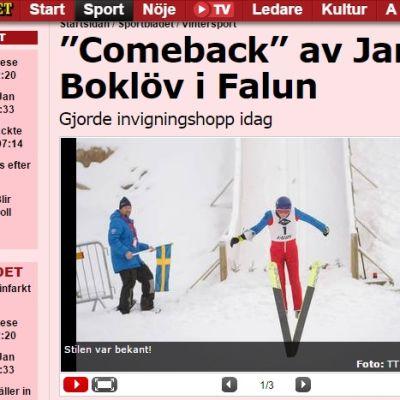 Kuvakaappaus Aftonbladetin sivuilta.