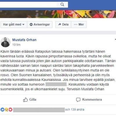 Skärmdump på Mustafa Orhans (Saml) inlägg i Facebookgruppen Puskaradio Grani.