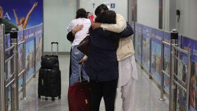 Afghaner som evakuerats från Kabul till Tyskland. Frankfurt 18.8.2021