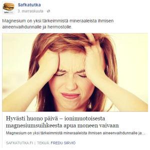 Kuvakaappaus Safkatutkan Facebook-päivityksestä