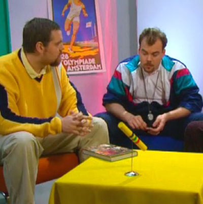 Stan Saanila, Max Forsman och Anders Slotte i sketch, Yle 1998